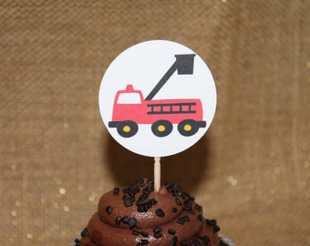 10 Firetruck Cupcake Picks - Appetizer Picks - White Round - Firetruck Design - Boy - Birthday