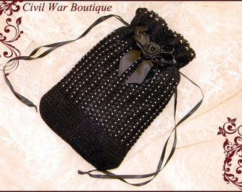 1800's Civil War Victorian Black Hand Crochet drawstring RETICULE PURSE with Pearls and Rose