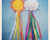 Rainbow Cloud or Sun Ribbon Princess Fairy Wands