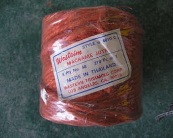 2 balls Westrim Macrame Jute,4ply 210 feet for macrame,doll's hair and for general crafting.