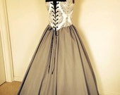 Fantasy cosplay Renaissance Bodice and Skirt Dress in Gray and Cream  custom available!!!