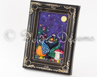 Halloween Decor, Witch Decor, Fall Decor, Pumpkin Decor, Toadstool Decor Witches Tea Party Halloween Witches Polymer Clay Witch Wall Hanging