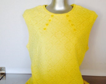 1960's Vintage Yellow Linen and Arnel Triacetate Sleeveless Top / Sleeveless Linen Blend 60's Suit Top