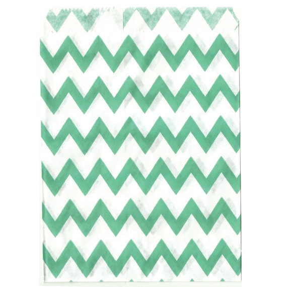 Mint Chevron Middy Goodie Bags, 25 Pack, Teal