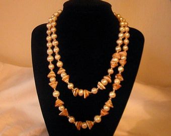 All natural, Soft Peach Pearl and Natural Shell necklace