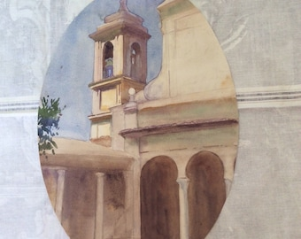 WATERCOLOUR MISSION BELLS Church chapel California Spain Italy Detail study