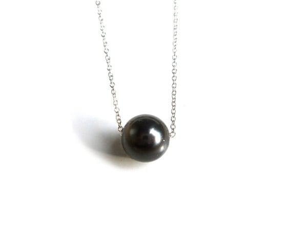 black pearl single black pearl necklace in sterling by ivianna