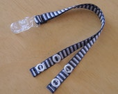 Cochlear Implant Ribbon Tether Double Strap Clip On, Black and White Stripes