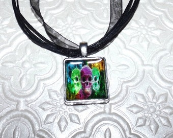 Electric Skulls Marble Necklace