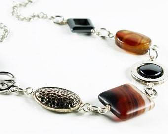 Brown Agate Necklace, Hematite, silver finish, brown semiprecious stone, contemporary necklace, statement necklace, gift for her, chunky