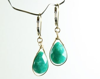 Amazonite, Gold-filled Wire Wrap earrings, fine gemstone earrings, dangle earrings, gold earrings, gift for her, ER2927