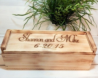 Wedding Wine Box for Rustic Wedding Personalized, Wine Box, Wine Ceremony, Wine and Love Letter Ceremony