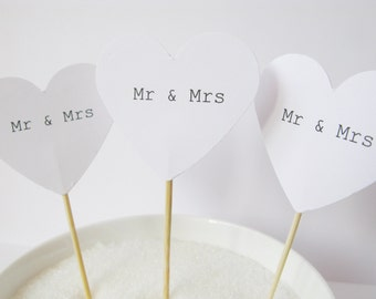 24 x Mr & Mrs Hand Made White Heart Cupcake Toppers - Cupcake Picks