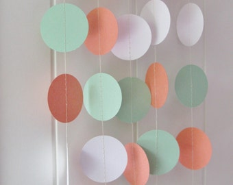 A 10ft Coral, Mint and White Circle Garland, Wedding Garland, Bridal Shower Decor, Baby Shower Decor, Party Garland, Birthday