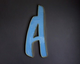 Vintage Letter A Large Marquee Blue Plastic Alphabet Sign Letter