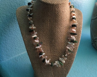 Freshwater Stick pearl and Zoisite necklace