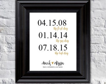 First Day, Yes Day, Best Day - Wedding, Bridal Shower - Engagement - Anniversary Gift // personalized