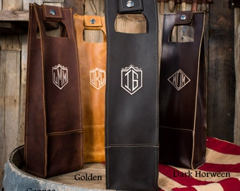Personalized Wine Tote Handmade USA Wine Carrier Fathers Day Wedding Wine Mothers Day Bridesmaid Gift Groomsmen Gift Lifetime Leather Co