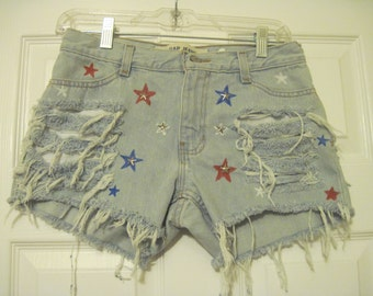 "denim cut off shorts destroyed/grunge/frayed/ripped size 30 X 3 1/2 red/white/blue stars 30"" waist AMERICANA shorts"