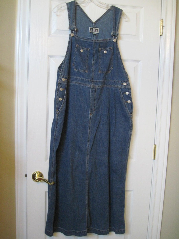 90s Bib Overall Dress Denim Jean Jumper Dress Bib
