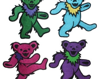 Grateful Dead Set of 4 Dancing Bears March Rock Band Icon Iron On Applique Patch