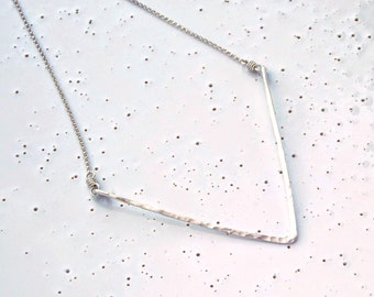 Sterling Silver Large Textured Chevron Necklace
