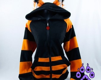 Pawstar STRIPEY Fox yip HOODIE with Ears - You pick the Color - Anime Cosplay Goth Costume Partial FurSuit Halloween Kitsune 6130