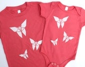 Origami Butterfly - Organic Tee - Kids Pink T Shirt - Organic toddler Tee - Pink