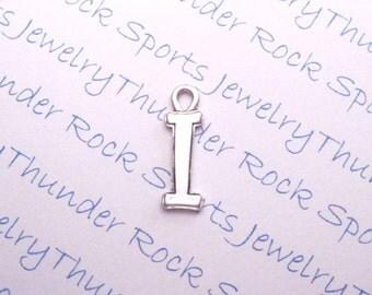 Antique Silver Plated Curlz Letter I Alphabet Initial Charms Pendants