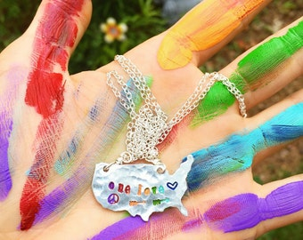 ONE LoVE - PRiDE necklace - hand stamped USA rainbow