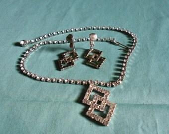 Vintage Rhinestone Necklace & Clip-On Earrings