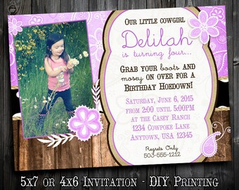 Cowgirl Chic - Customized Birthday Invitation Printable - with Photo - Lavender Bandana and Barnwood Rustic Country themed Party Invitation