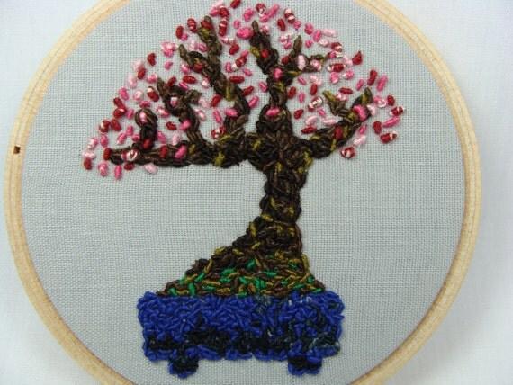 Hand Embroidered Prunus Mume Bonsai Hoop Art Bonsai Tree 3