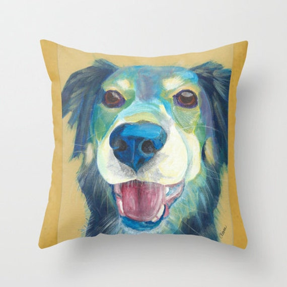 Border Collie Mix Throw Pillow Cover made from by AbeesArtStudio