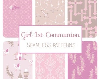 Girl First Communion Seamless Pattern - Communion Tillable Background - Fabric Print, Wall Papers, Wrapping Papers - Instant Download