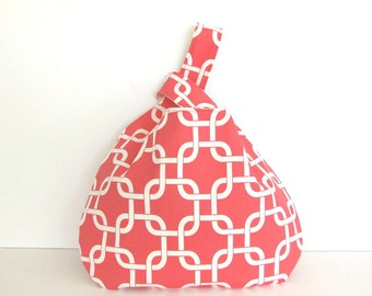 Large Knitting Bag, Coral Links Knitting Tote, Japanese Knot Bag Self Closing Diaper Bag