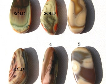 One DRILLED Royal Imperial Jasper Focal Bead Cabochon Pendant Natural Earth Tones