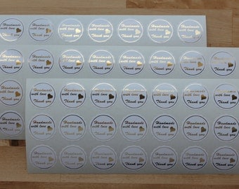Handmade with love, 1in dia scalloped vinyl stickers - set of 24