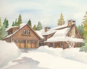 Custom Watercolor Portrait of Home or Business - Commissioned house drawing in color
