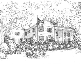"Custom Ink House Portrait -  Your Home Hand Drawn in Ink, 11""x 14"" Personal Landscape in Mat - Commissioned drawing sketched in ink"