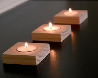 Set of 3 Handmade Wood Candle Holders with Tea Lights    Square Candleholders, Natural Pine Wood Tea Light Holders, Modern Tealight Holders