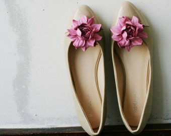 Pink Leather Rose Flower Shoe Clips