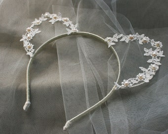 Ivory lace cat ears headband - Made to Order