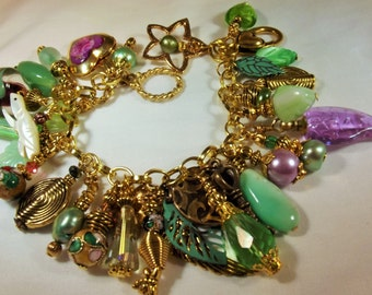 Bracelet Handmade Charm Unique Individual Chrysolite Lockets Art Glass Crystal Metalwork Leaves and More Exotic Boho Green Lilac Wire Wrap