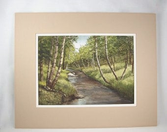 Vintage Watercolor Painting Quiet Stream Signed by Helena, Helen Lindholm Minnesota