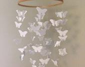White Chandelier Butterfly Mobile