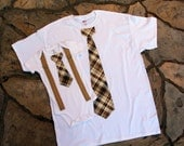 FATHER'S DAY Baby Boy Tie and Suspenders Dad & Baby Boy Set. Father Son.  Plaid Tie, Brown and Tan, 1st Holiday Coming Home, Father and Son