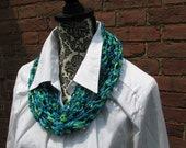 Accent Scarf Crochet Acrylic Washable Colorful Warm Soft Handmade Turquoise Green Blue