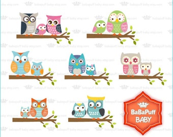 Buy 2 Get 2 Free ---- Owls Family and Tree Branch Clip Art Set 1. Personal and Small Commercial Use ---- BB 0869