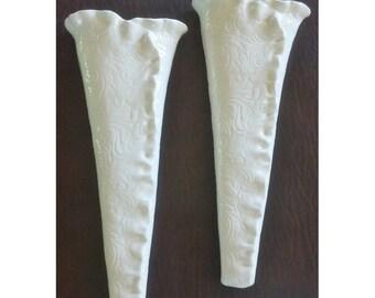 White Textured Ceramic Wall Vases - Pair